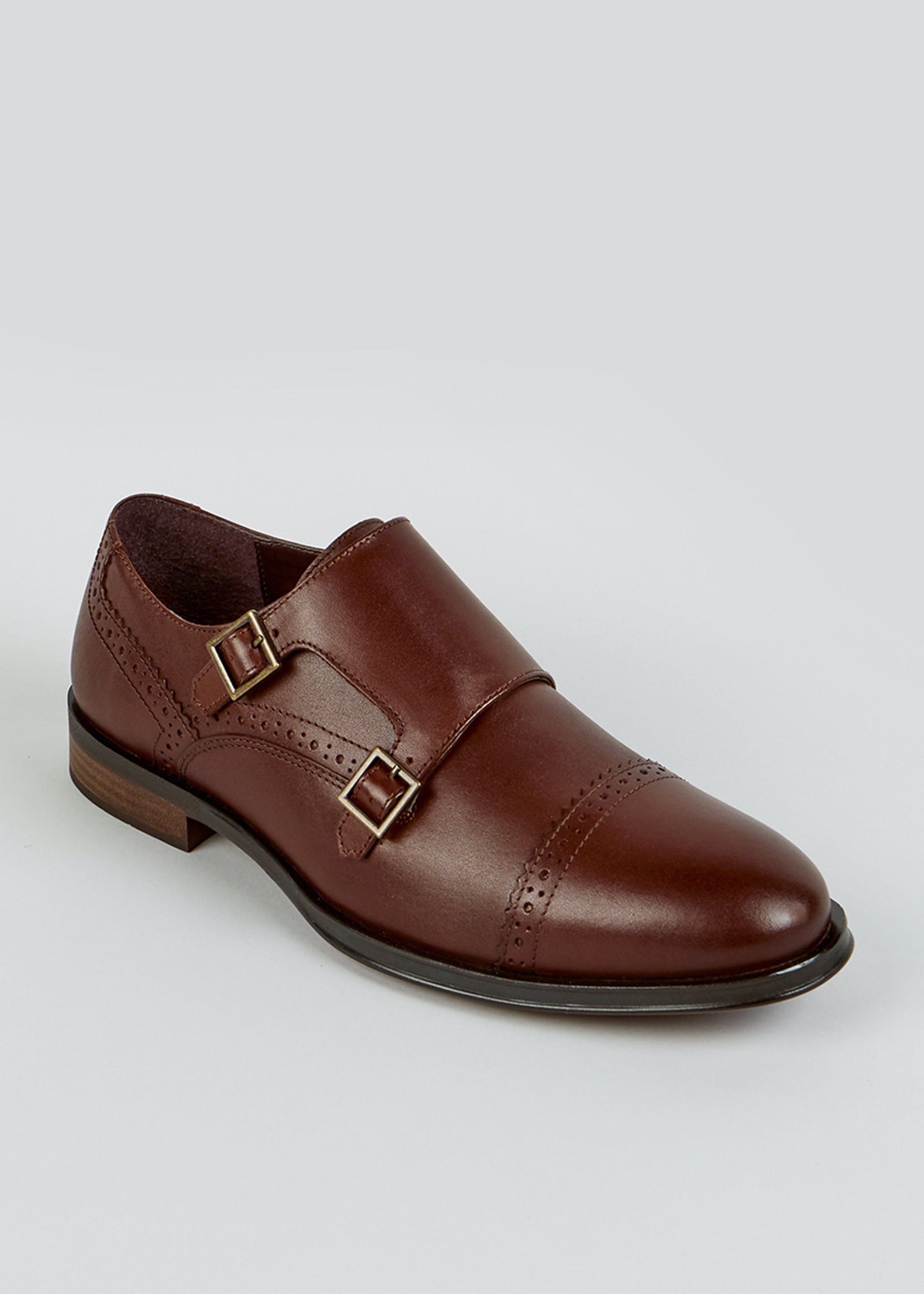 Brown Leather Monk Shoes Brown AHyfjL