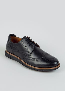 Black Leather Contrast Sole Brogues
