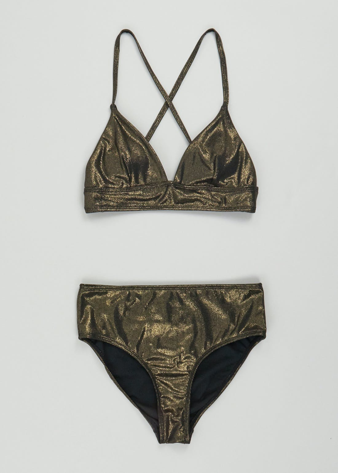 Metallic Ribbed Triangle Bikini Set