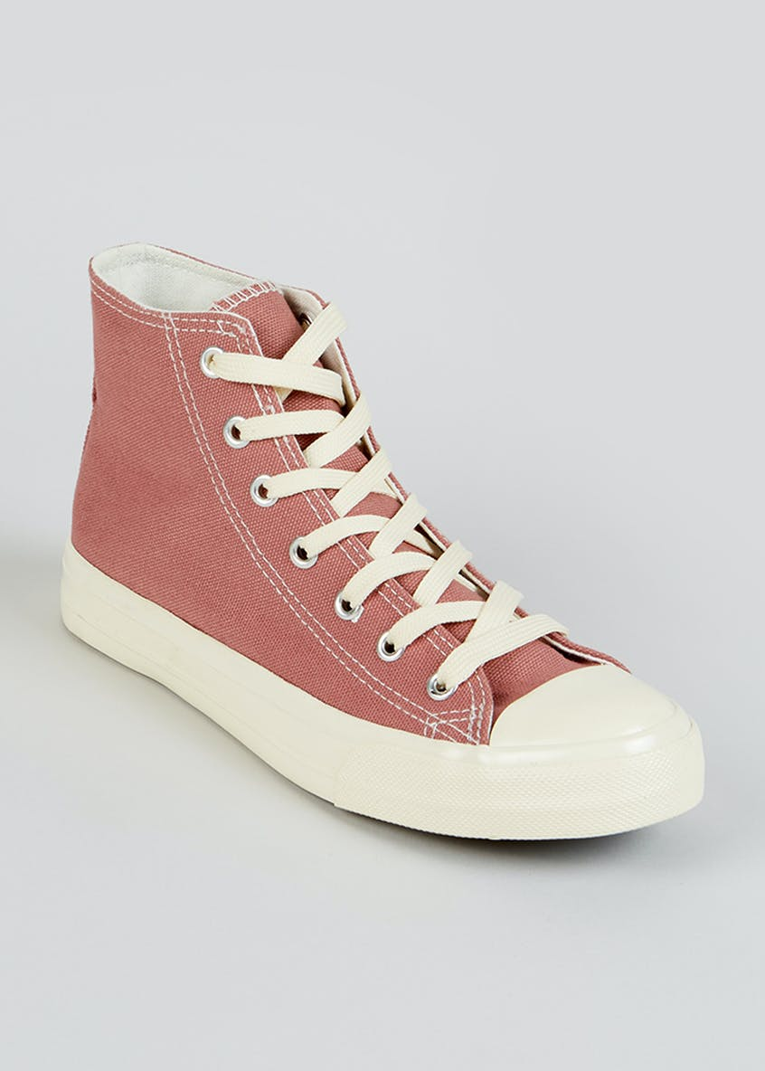 Pink Canvas High Top Trainers