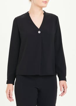 Black Long Sleeve Button Detail Blouse