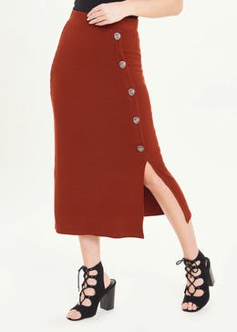 Ribbed Button Side Jersey Midi Skirt