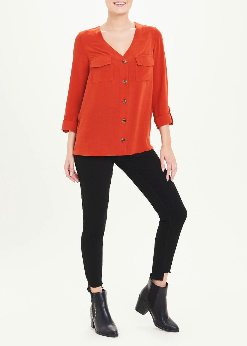 Rust 3/4 Sleeve V-Neck Button Blouse