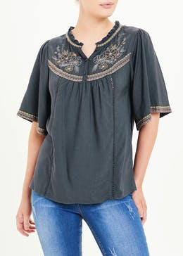 Falmer Grey Angel Sleeve Embroidered Blouse