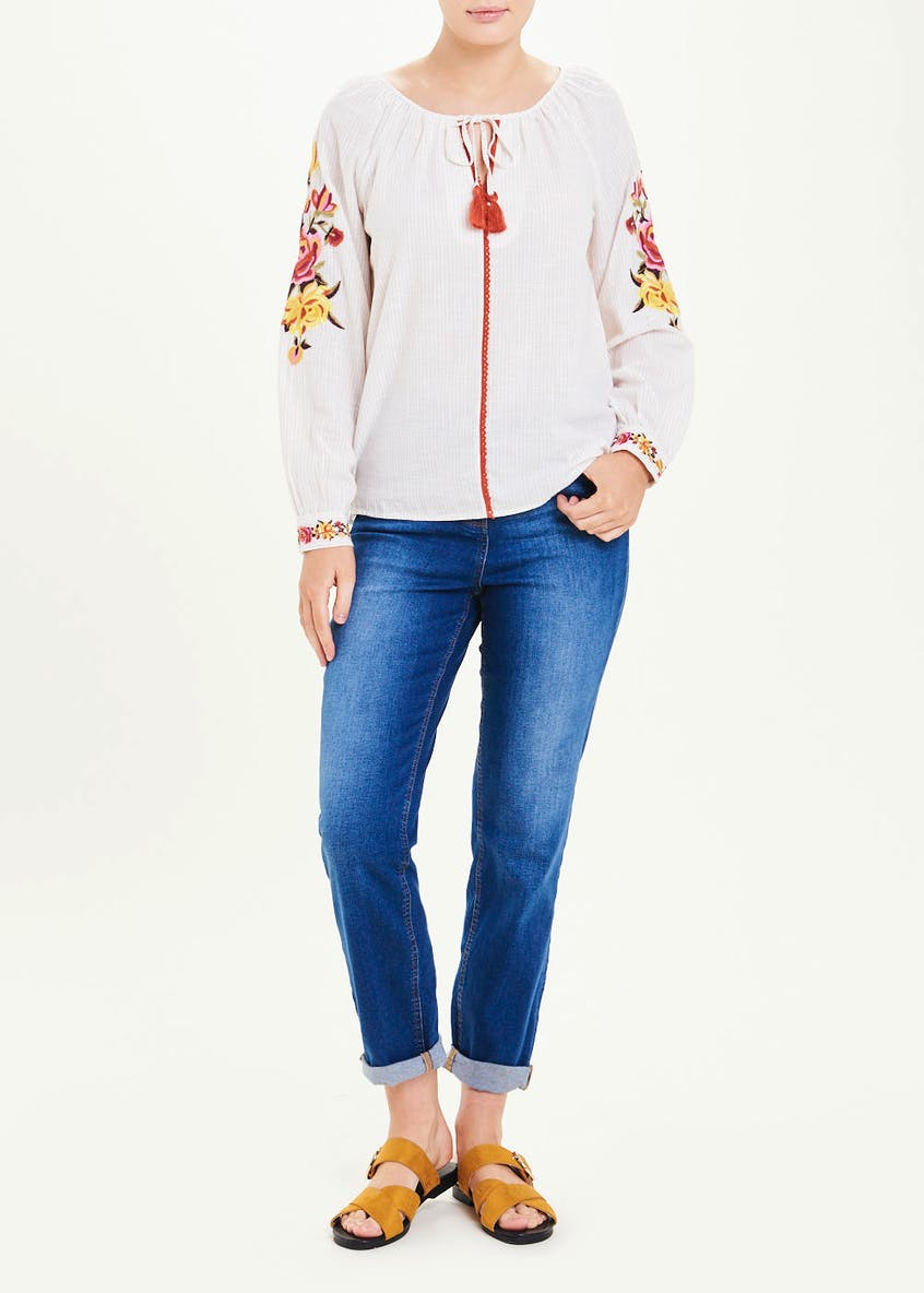 Falmer Long Sleeve Stripe Embroidered Floral Blouse