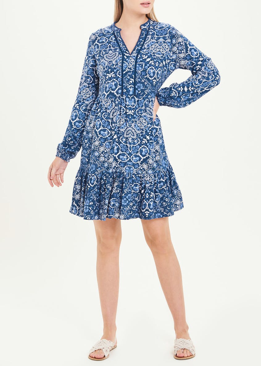 Falmer Blue Long Sleeve Paisley Tunic Dress