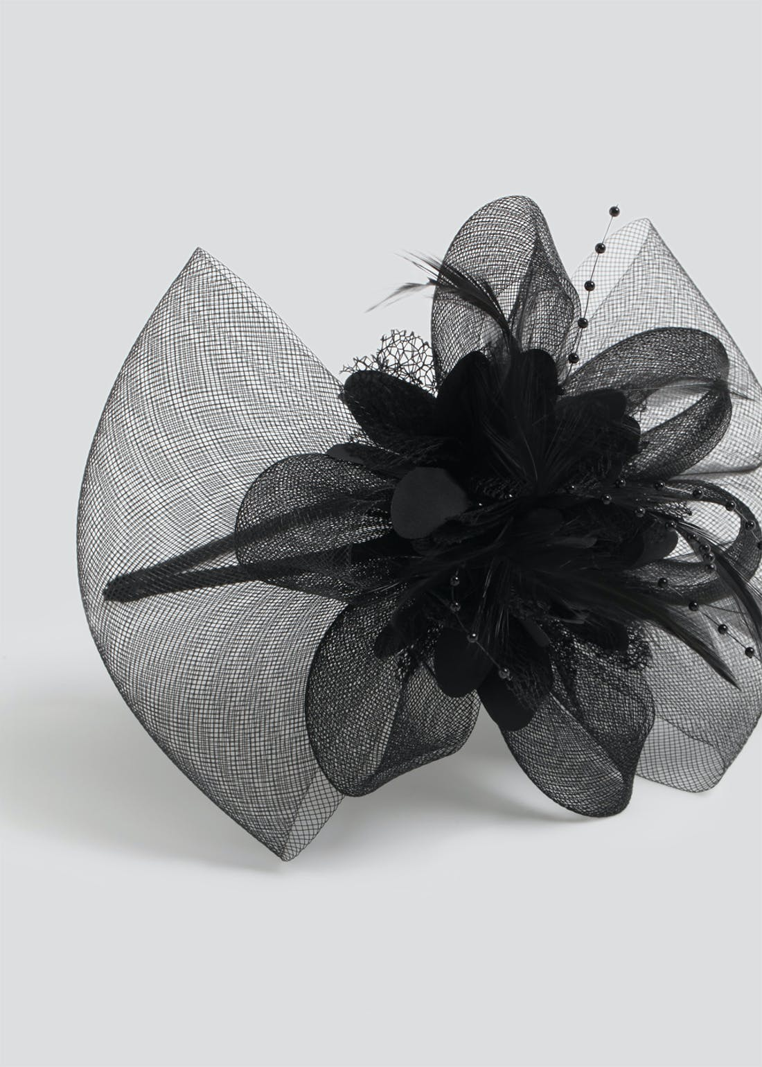 Large Netted Feather Fascinator Headband
