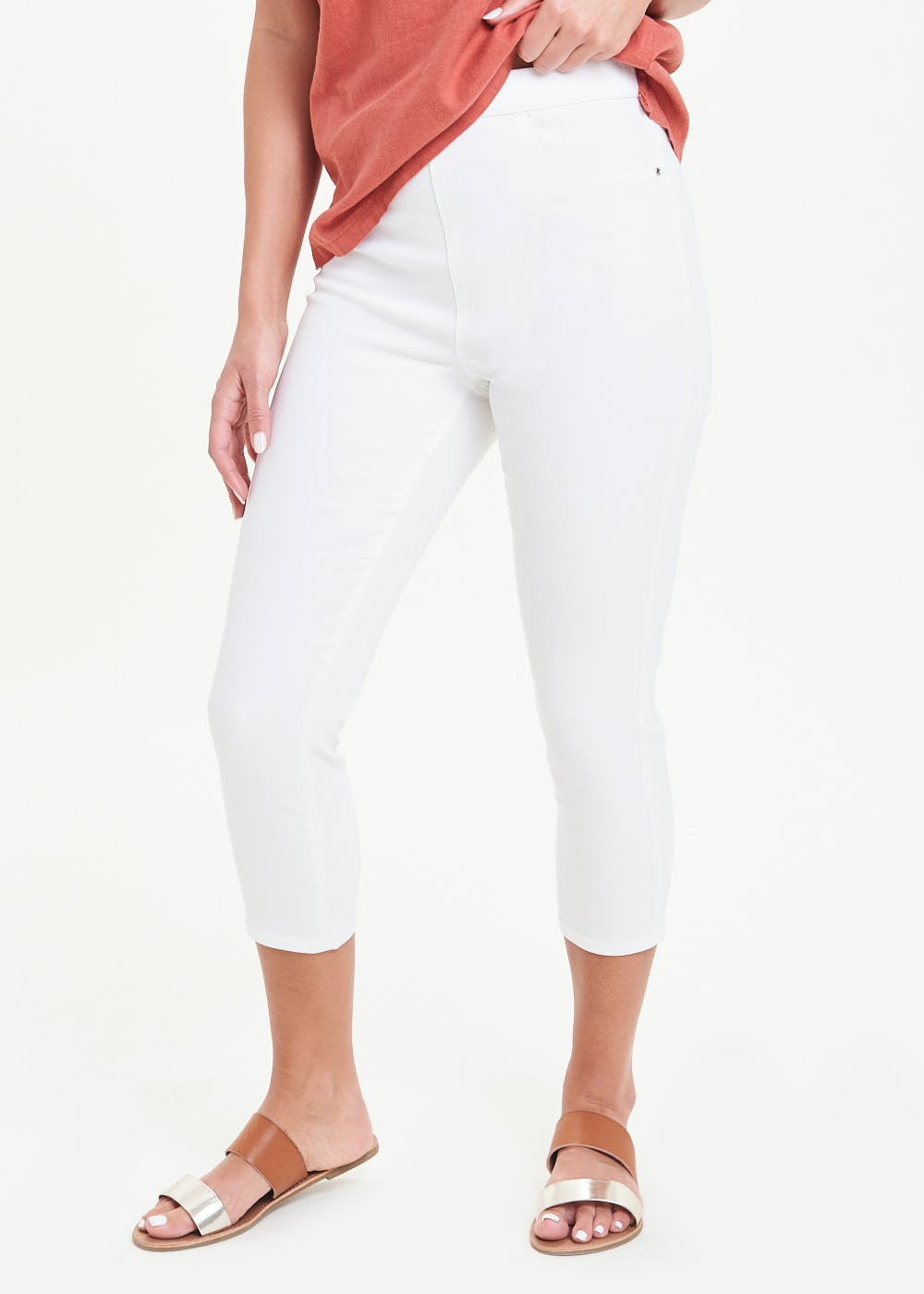 Rosie Cropped Pull On Jeggings – White