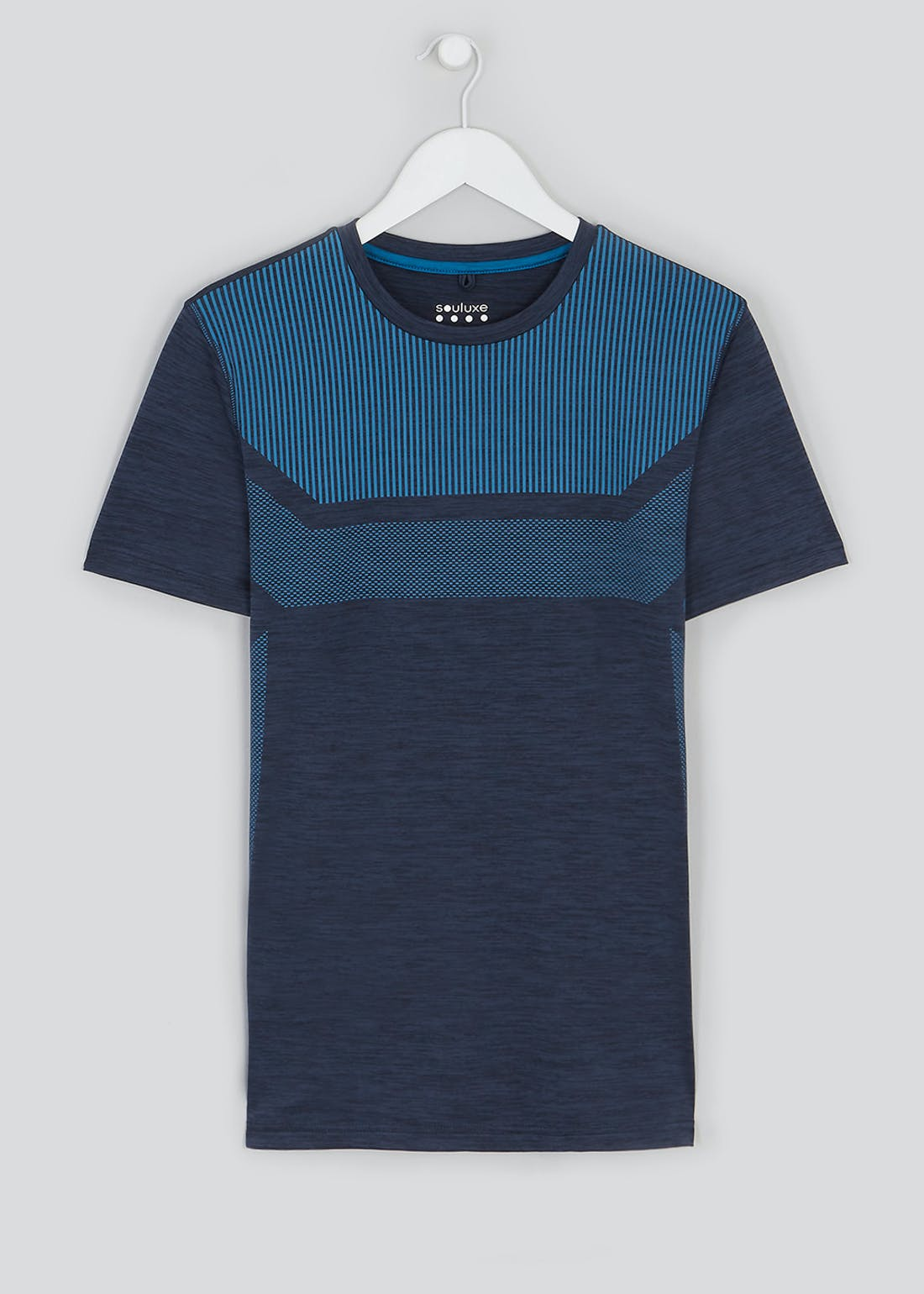 Souluxe Navy Stripe Panel Gym Top