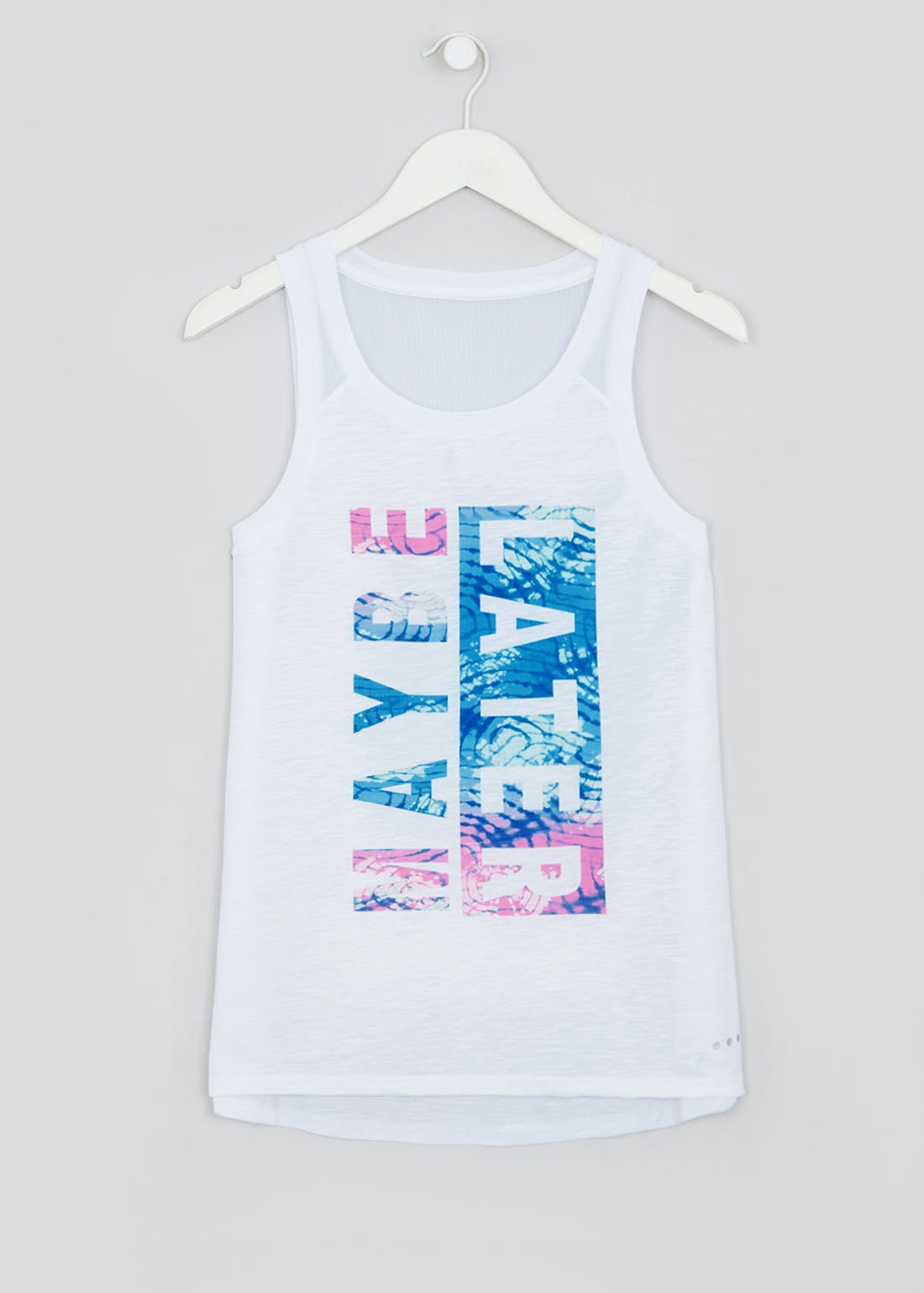 Souluxe White Maybe Later Slogan Gym Vest