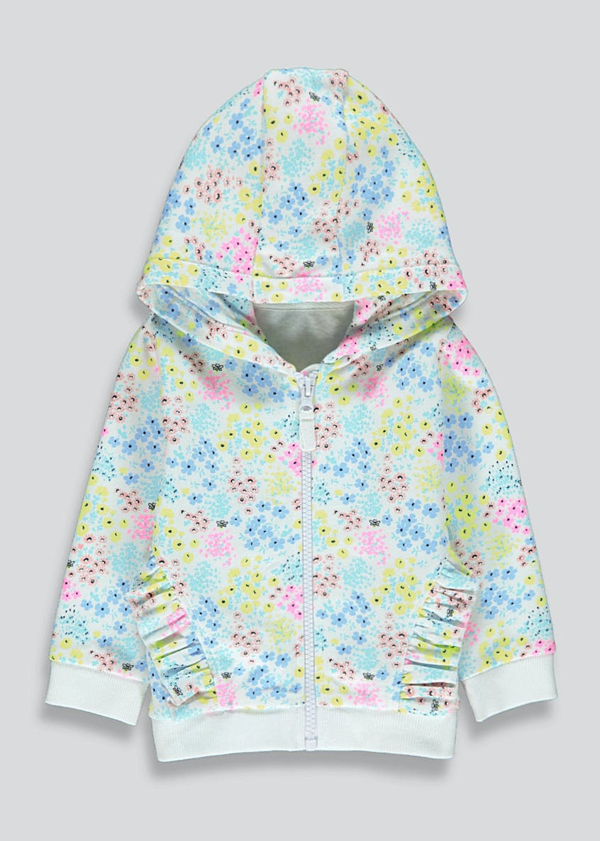 Girls Zip Up Floral Hoodie (9mths-6yrs)