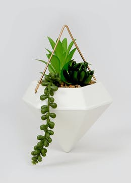 Geometric Ceramic Hanging Planter (22cm x 14cm)