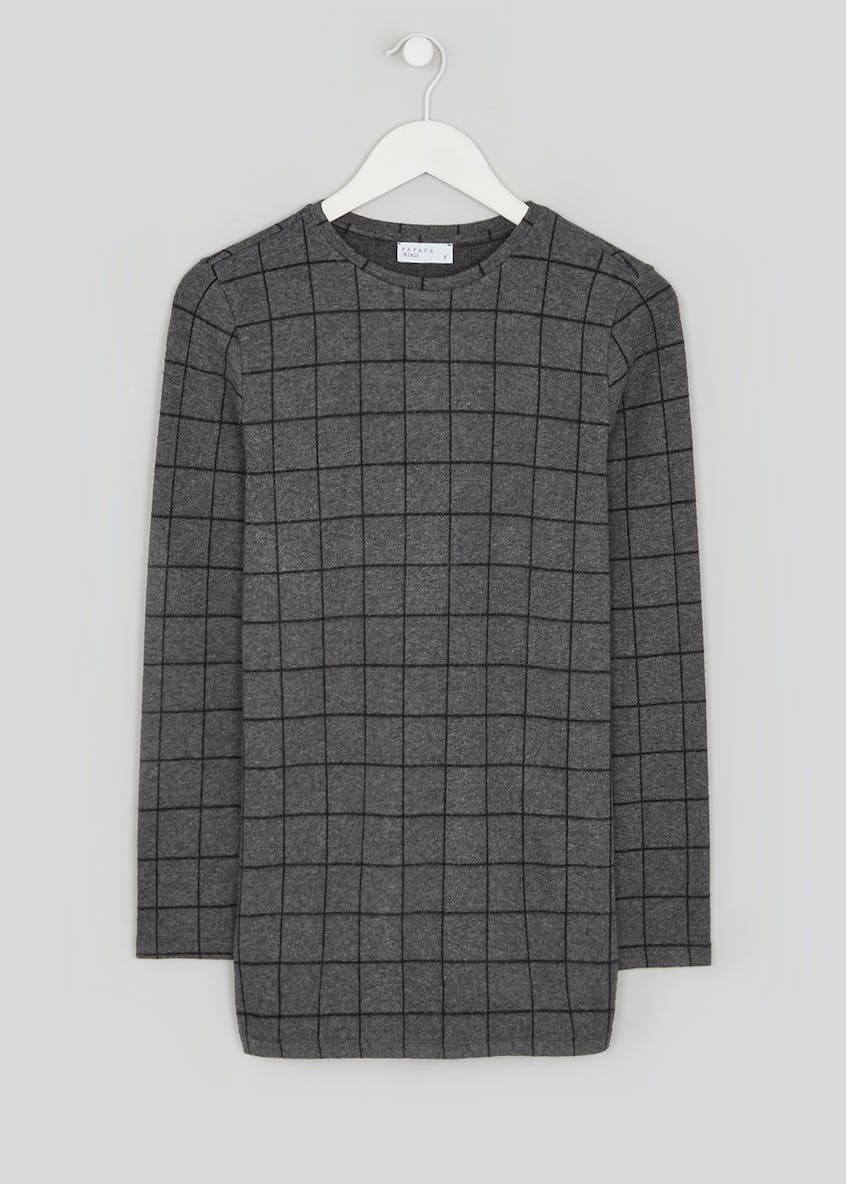 Long Sleeve Check Soft Touch Top