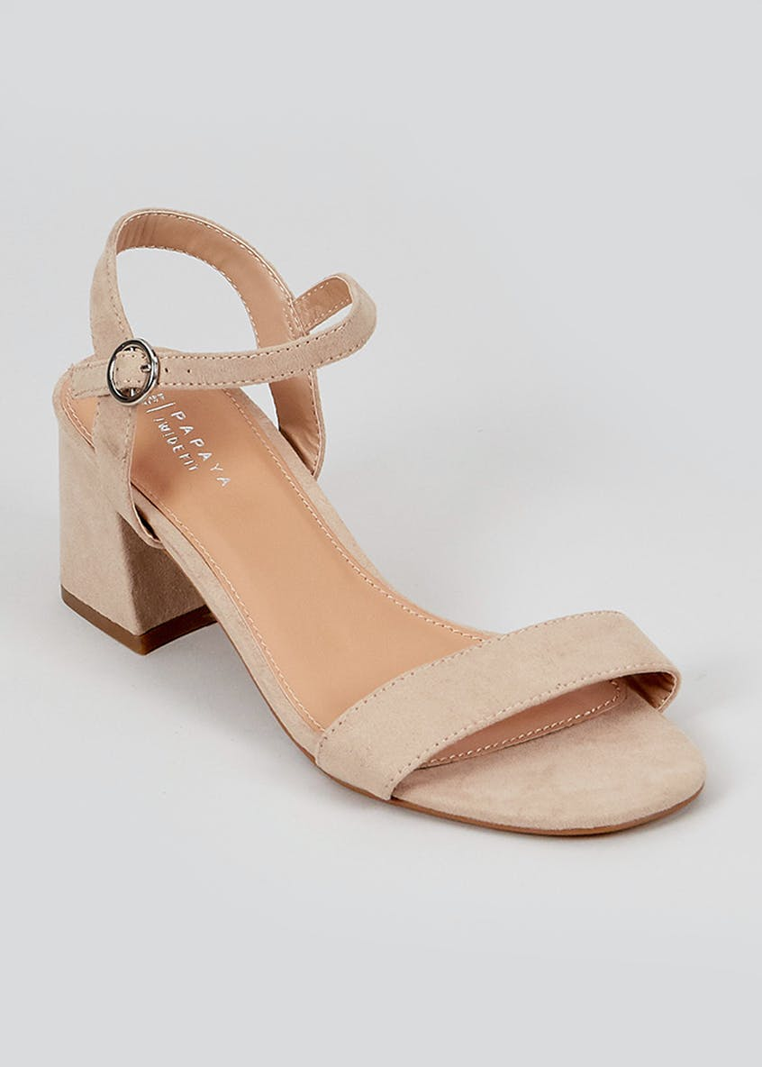 Wide Fit Taupe Block Heel Sandals