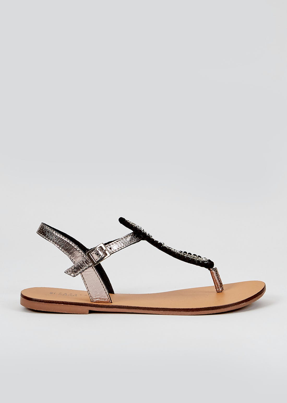 Black Beaded Leather Sandals