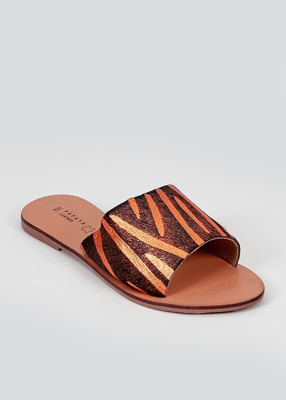 Orange Leather Zebra Print Mules