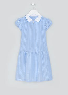 Girls Blue Gingham Short Sleeve School Dress (4-14yrs)