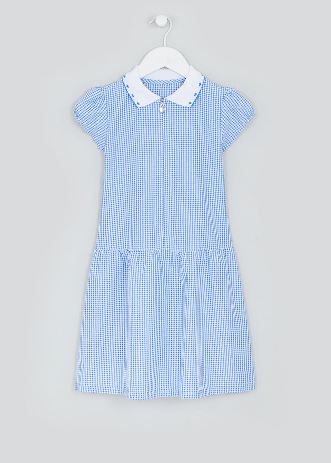 Girls Blue Zip Front Gingham School Dress (3-14yrs)