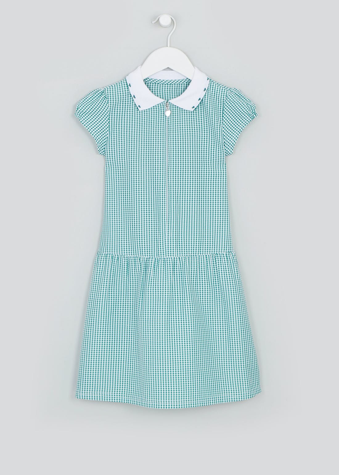 Girls Green Zip Front Gingham School Dress (3-14yrs)