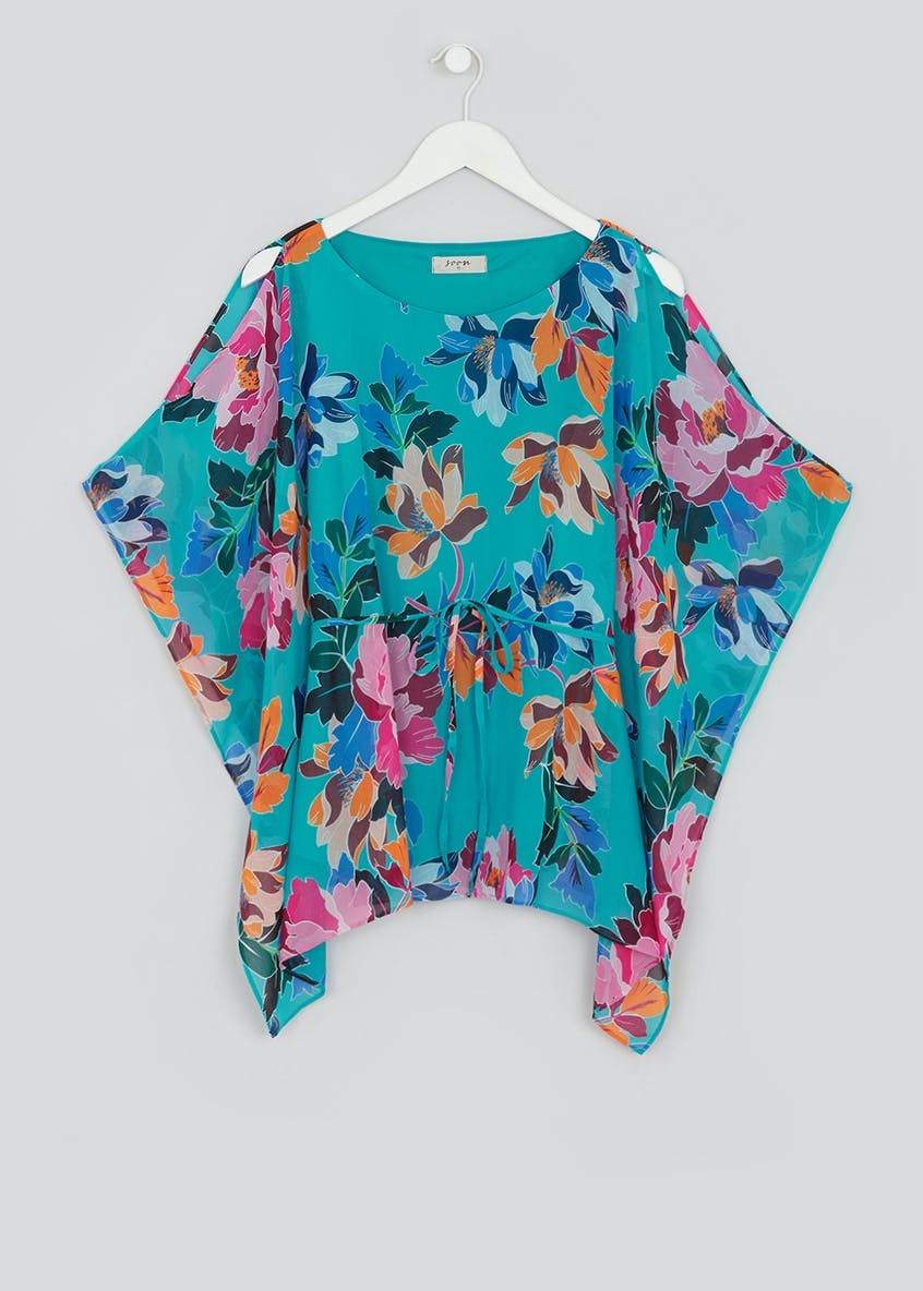 Soon Blue Floral Belted Kimono Top