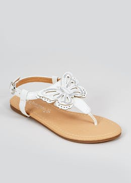 Girls White Butterfly Sandals (Younger 10-Older 5)