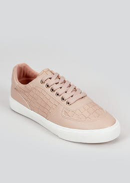 Nude Mock Croc Lace Up Trainers