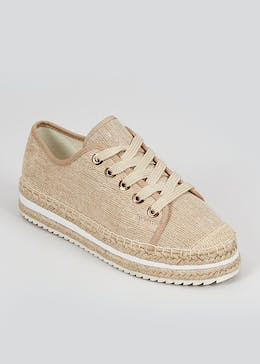 Cream Lace Up Espadrille Trainers