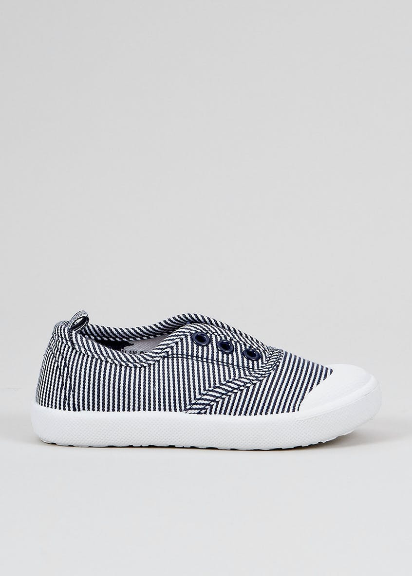 Boys Navy Stripe No Lace Pumps (Younger 4-12)