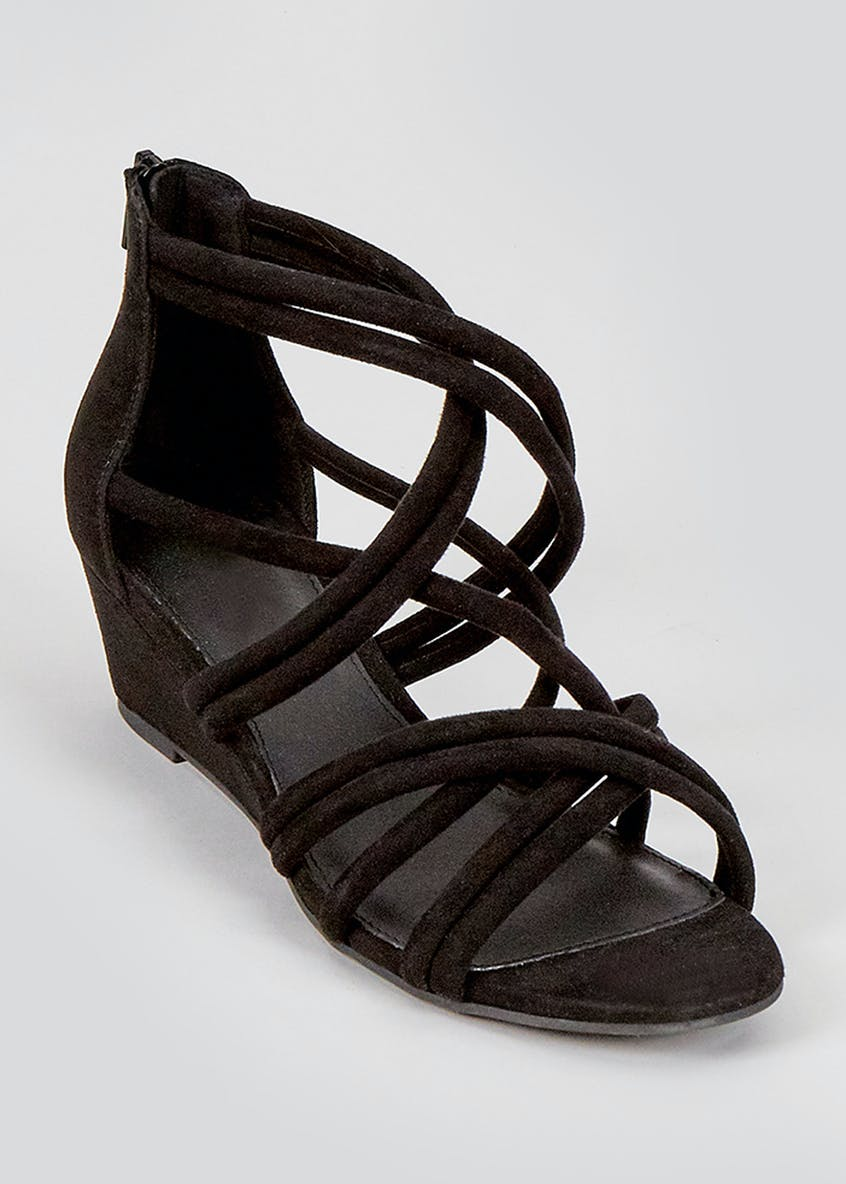 Black Strappy Demi Wedge Sandals