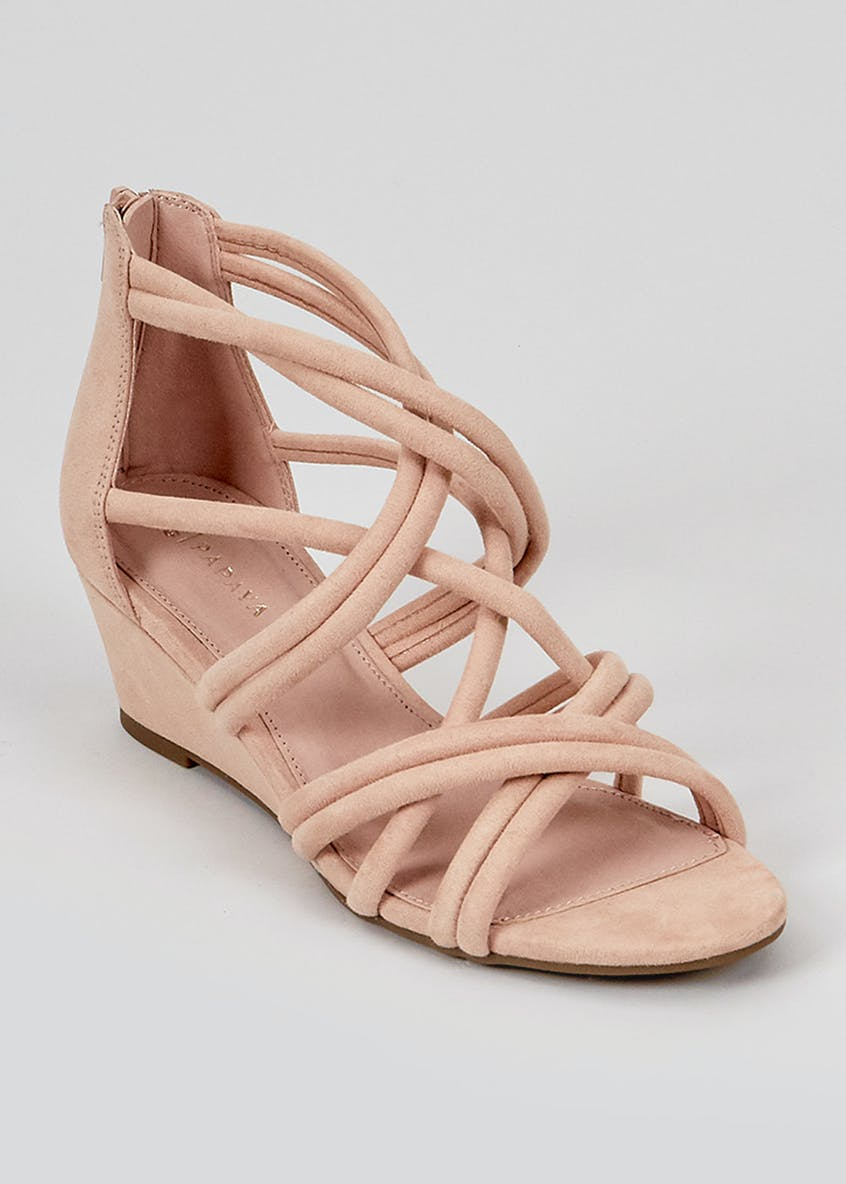Pink Strappy Demi Wedge Sandals
