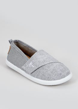 Boys Grey Slip On Plimsolls (Younger 4-12)