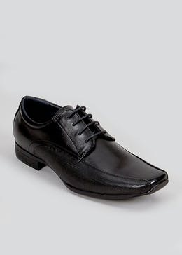 Black Lace Up Tramline Shoes