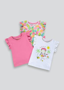 Girls 3 Pack Frill Sleeve T-Shirts (9mths-6yrs)