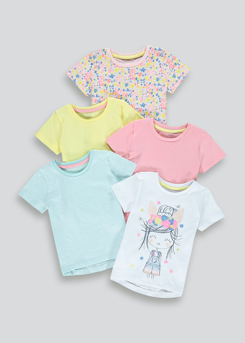 Girls 5 Pack Floral T-Shirts (9mths-6yrs)