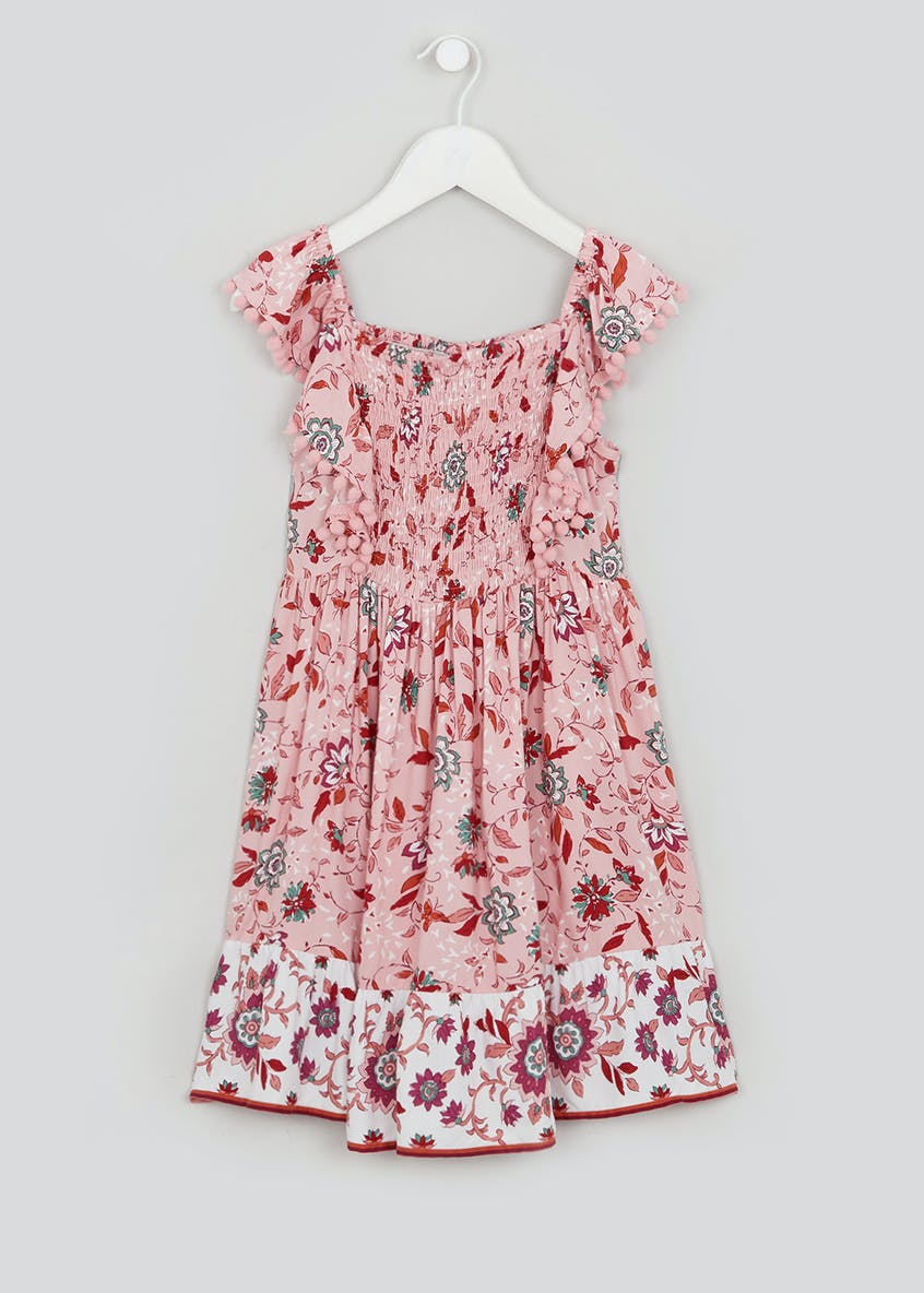 Girls Pink Short Sleeve Floral Dress (4-13yrs)