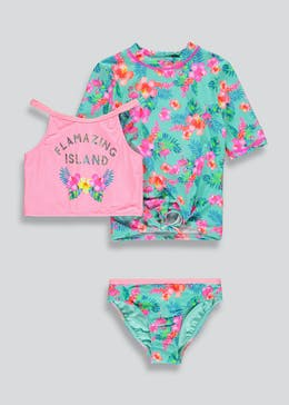 Girls 3 Piece Rash Vest & Bikini Set (4-13yrs)