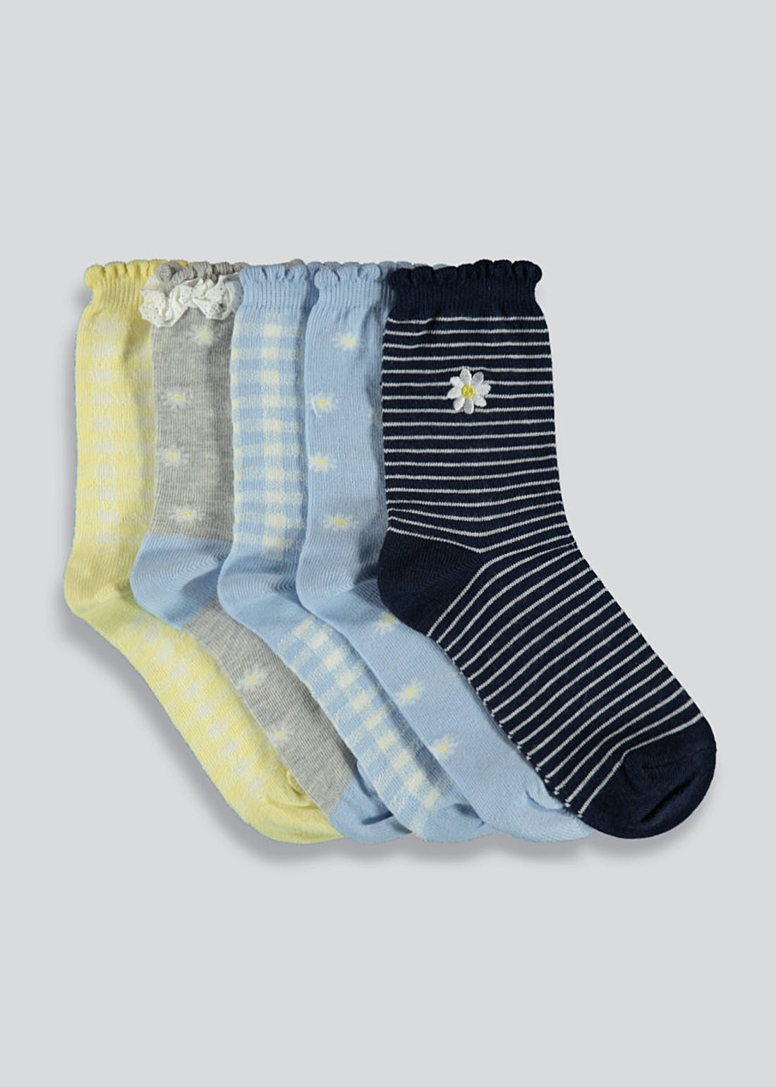 Girls 5 Pack Daisy Print Socks (Younger 6-Older 5.5)