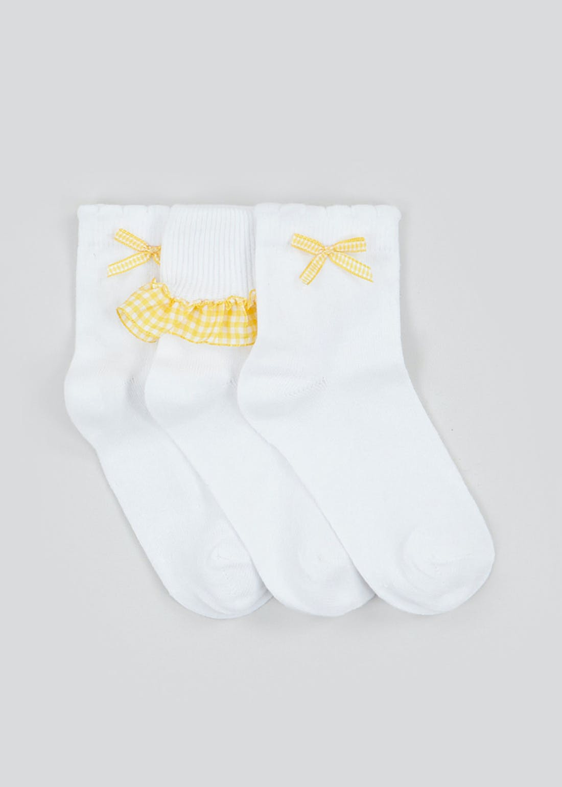 Girls 3 Pack Yellow Gingham School Socks (Younger 6-Older 5.5)