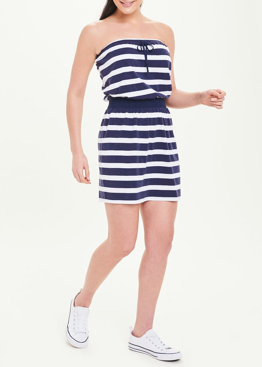 Navy Stripe Bandeau Dress