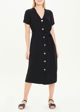 Black Short Sleeve Button Front Midi Dress