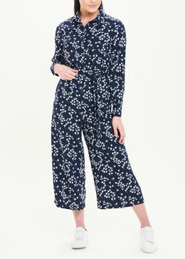 Long Sleeve Ditsy Button Jumpsuit