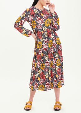 Long Sleeve Floral Tiered Midi Dress