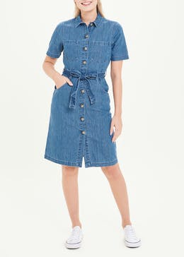 Short Sleeve Denim Midi Shirt Dress