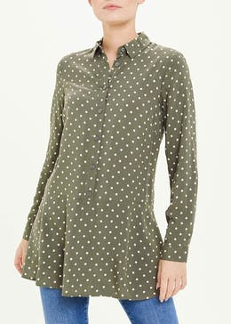 Khaki Long Sleeve Polka Dot Tunic Shirt