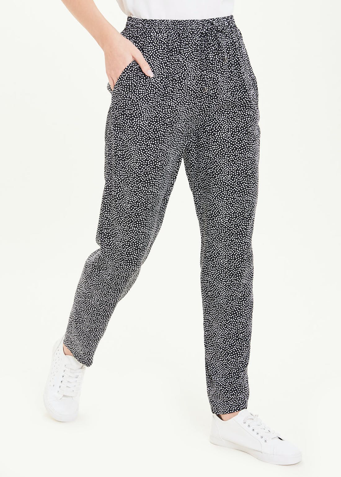 Polka Dot Tapered Tie Waist Trousers