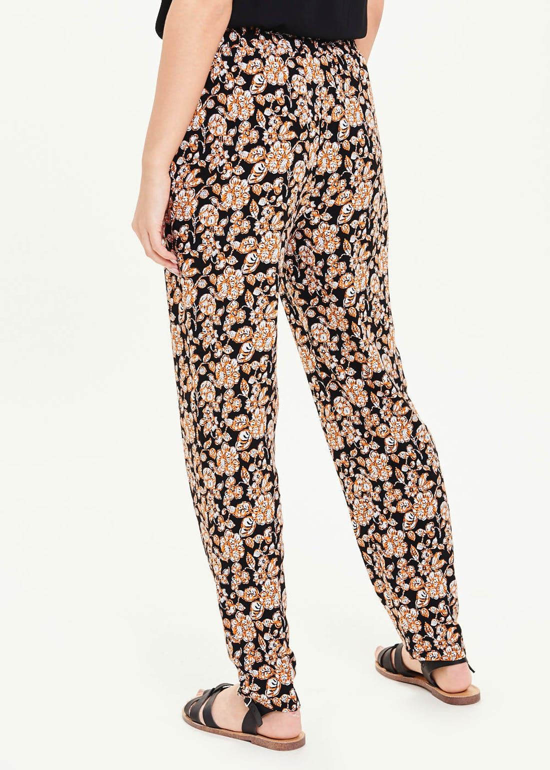 Floral Tapered Tie Waist Trousers