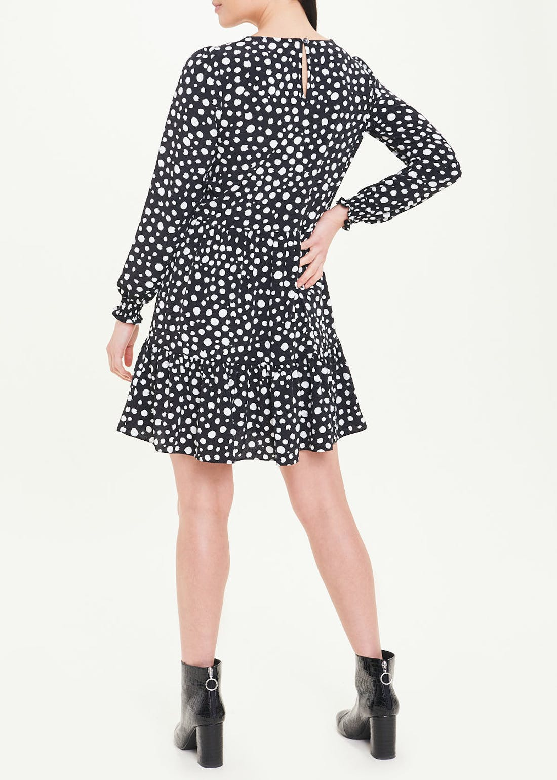 Black Long Sleeve Polka Dot Smock Dress
