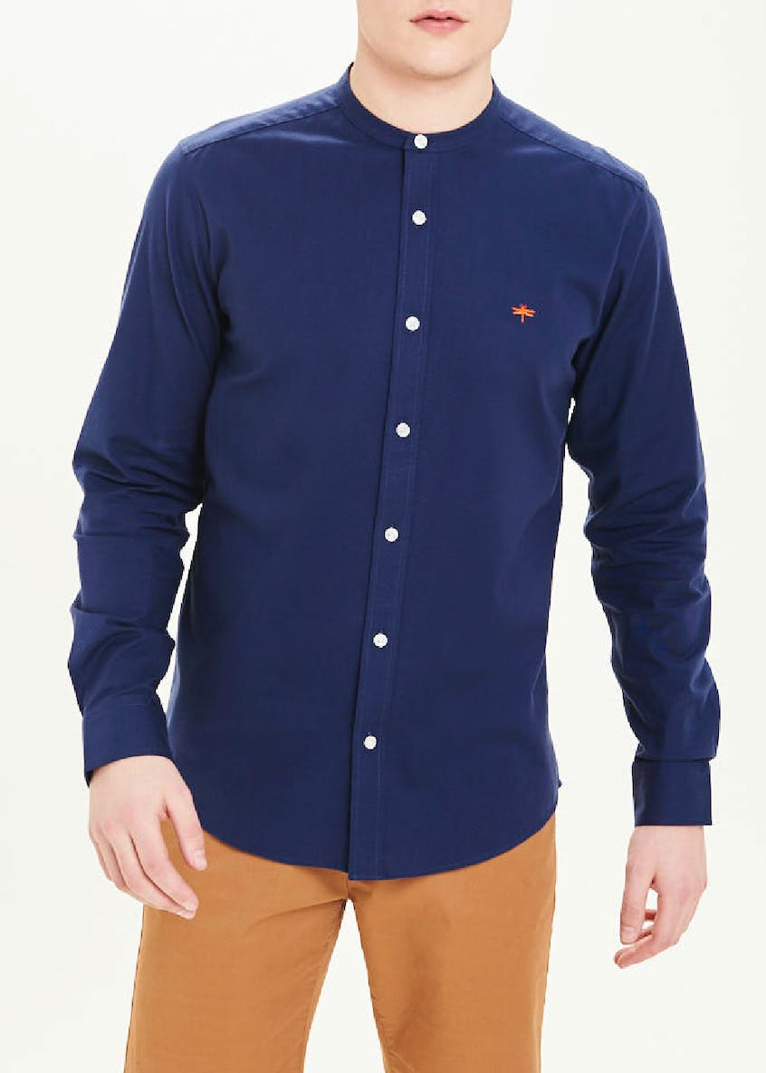 Long Sleeve Slim Fit Grandad Collar Oxford Shirt