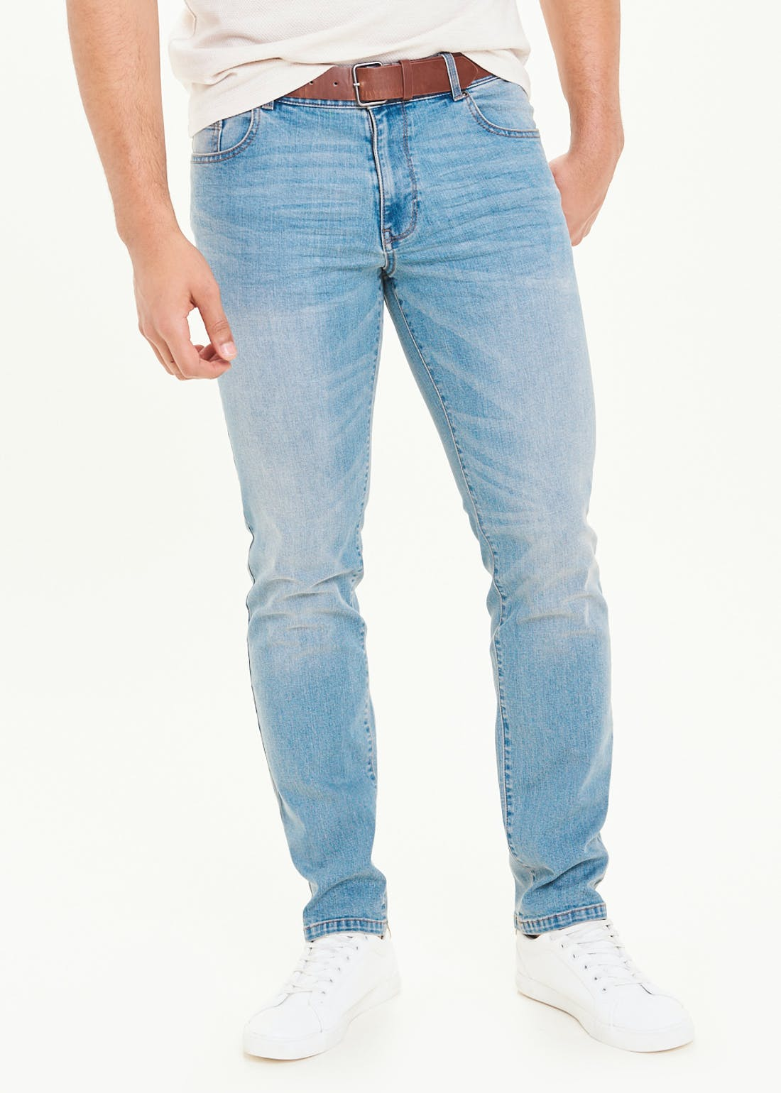 Slim Fit Belted Jeans