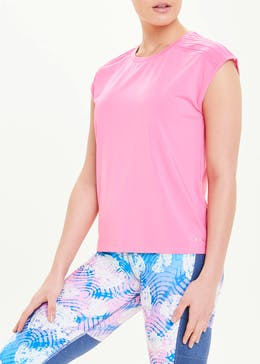 Souluxe Pink Piped Shoulder Gym T-Shirt